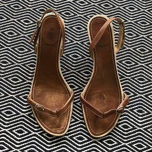 JCrew Brown Kitten Heel Sandals 7